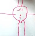"""Finale, 2;8 Jahre: Finales Mama hat den Bauchnabeltest mit Finale zuvor an einem anderen Bild durchgeführt. Anschließend malte Finale dieses Bild. Ihre Mama erklärt: Das ist Papa mit zwei Haaren, und ein Punkt ist der Bauchnabel, der zweite entstand, als sie mir erklärte, wo der Bauch ist. """" Auch hier stellt der Kopfkreis für das Kind also wohl Kopf und Bauch in einem dar."""