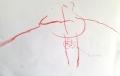 Dieses Mädchen (2;10 Jahre) hat hier zum ersten Mal einen Kopffüßler gemalt. Auf Nachfrage wurde der Nabel zwischen die Beine platziert. Danke für die Einsendung!