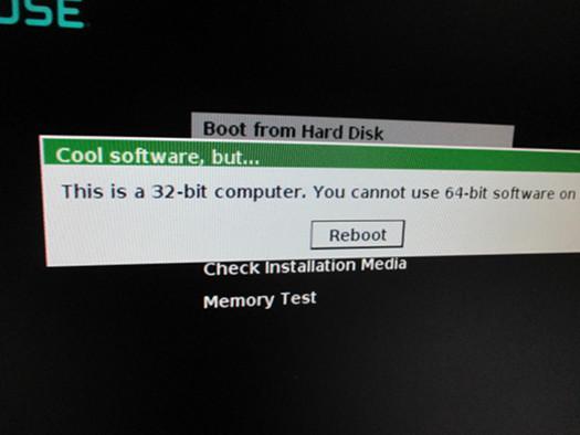 Fehlermeldung bei der Installation von 64-Bit-Linux auf 32-Bit-Rechner