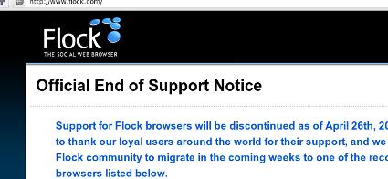 Flock-Webseite mit Abschiedsnachricht