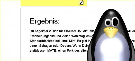 entsetzter Pinguin vor Ergebnis