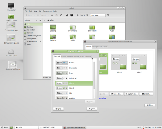 Screenshot Linux Mint in Mate-Version