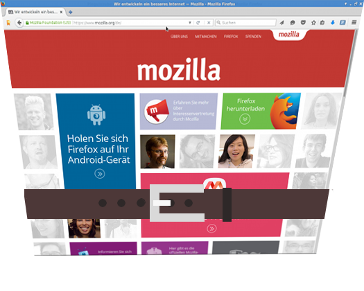 Mit Gürtel engergeschnalltes Firefox-Browserfenster