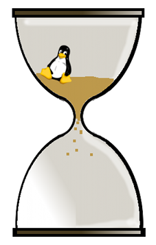 Tux in Sanduhr