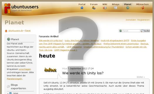 Screenshot planet.ubuntuusers.de mit großem Fragezeichen