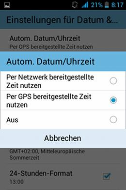 Zeitsynchronisierungseinstellungen am Smartphone