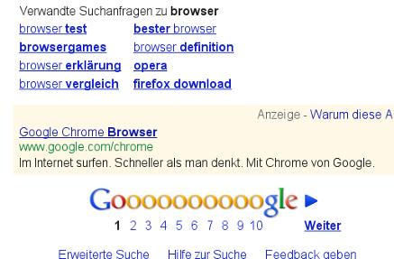 Chrome-Anzeige bei Google-Suche nach Browser