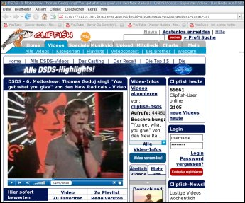 Screenshot RTL-Videoportal