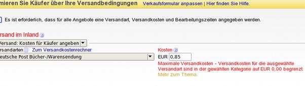 Ebay-Artikeleinstellmaske: Versandkosten auf 0 Euro begrenzt