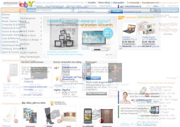 Ebay- und Amazon-Startseiten übereinander