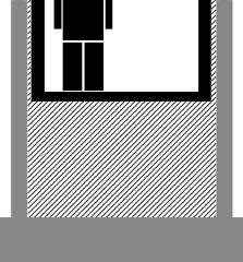 Fahrstuhl auf halber Höhe mit offenem Schacht