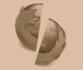 Vergilbter, auseinandergebrochener Firefox