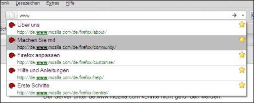 Neue, ausgeklappte Firefox-Adresszeile