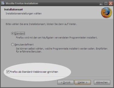 Firefox-Installationsdialog