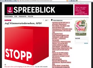 Screenshot Spreeblick mit SPD-kritischem Text