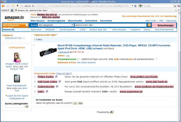 Screenshot Amazon-Suchergebnisse