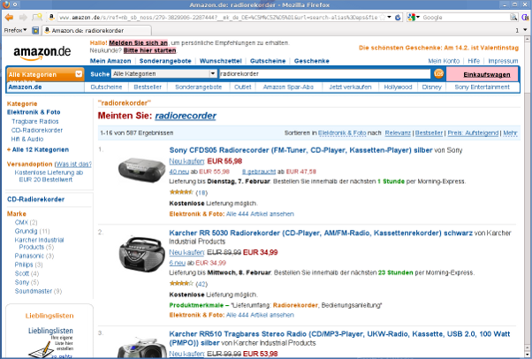 Screenshot Amazon-Suchergebnisse
