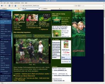 Screenshot RTL-Begleitseite