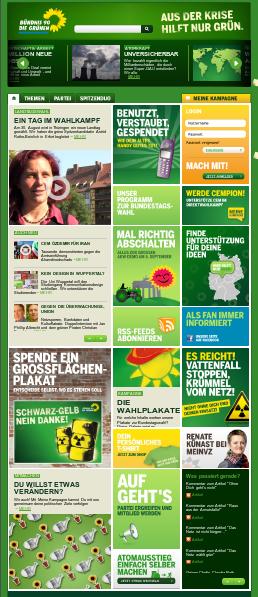 Bildschirmfoto Webseite von Bündnis90/Die Grünen