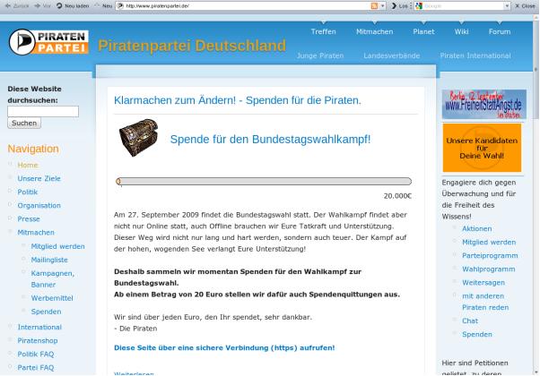 Bildschirmfoto Webseite der Piratenpartei