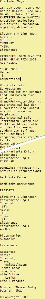 extrahierte Textquelle eines Screenreaders
