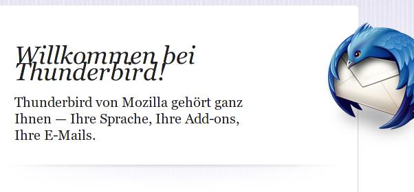 Tunderbird-Begrüßungsbildschirm