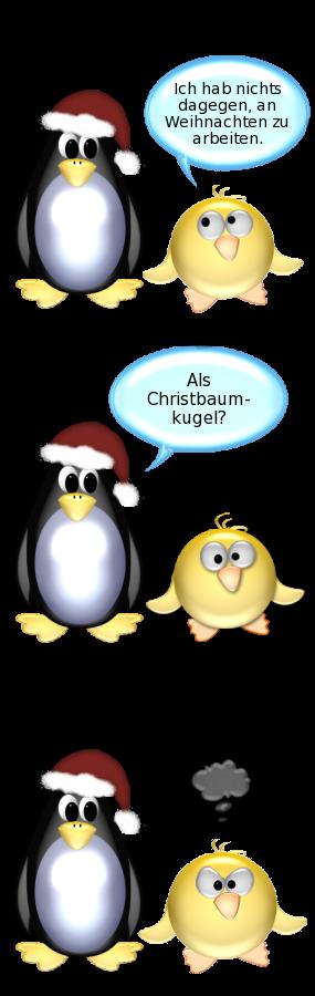 der ente die pinguin arbeiten an weihnachten. Black Bedroom Furniture Sets. Home Design Ideas