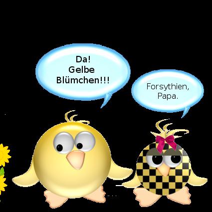 Ente [entzückt]: Da! Gelbe Blümchen!!! -- Babyente [genervt]: Forsythien, Papa.