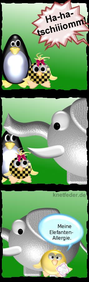 Ha-ha-tschiiiomm! -- Pinguin und Babyente schauen entsetzt -- Elefant läuft durchs Bild -- Ente [mit Taschentuch vor Elefant]: Meine Elefanten-Allergie!