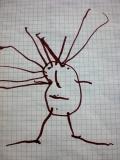Elise, 3;5 Jahre: Der erste Kopffüßler des Kindes! Die Mutter hat den Bauchnabeltest durchgeführt, mit dem Ergebnis, dass der Nabel im unteren Bereich des Kopfkreises platziert wurde. Auch dieses Bild spricht also dafür, dass der Kopfkreis für Kopf, Hals und Rumpf in einem steht.