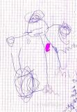 Anna, 3;2 Jahre: Die erste Menschzeichnung - und schon mit Nabel! Hier mal wieder die Variante zwischen den Beinen, also eher fehlender Bauch.