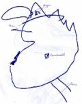 """Hier hat Jakob, 3;2 Jahre, einen Osterhasen gemalt und auf Nachfrage den Bauchnabel im unteren """"Gesichts""""bereich eingezeichnet. Es scheint, das für Jakob die gesamte Form für Kopf und Körper steht (letzte Erklärung von oben). Danke an Simone!"""