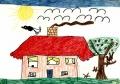 Deutliche Himmels- und Graslinien, sowie Binnendifferenzierungen an vielen Objekten. ( Melanie, ca. 6 Jahre)